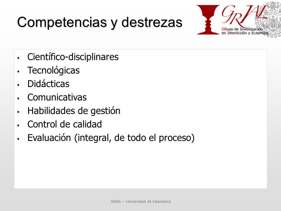 Competencias y destrezas  Científico-disciplinares  Tecnológicas  Didácticas  Comunicativas  Habilidades de gestión  Control de calidad  Evaluación (integral, de todo el proceso) GRIAL – Universidad de Salamanca