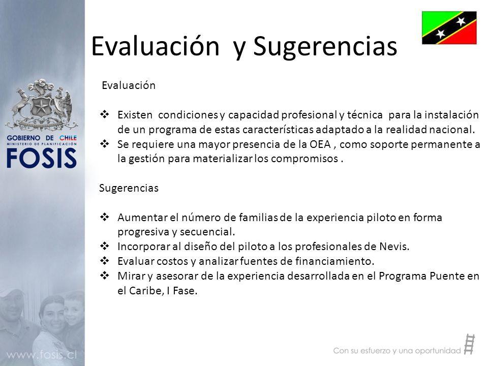 Evaluación y Sugerencias Evaluación  Existen condiciones y capacidad profesional y técnica para la instalación de un programa de estas características adaptado a la realidad nacional.