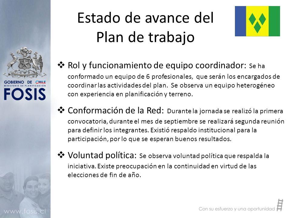 Estado de avance del Plan de trabajo  Rol y funcionamiento de equipo coordinador: Se ha conformado un equipo de 6 profesionales, que serán los encargados de coordinar las actividades del plan.