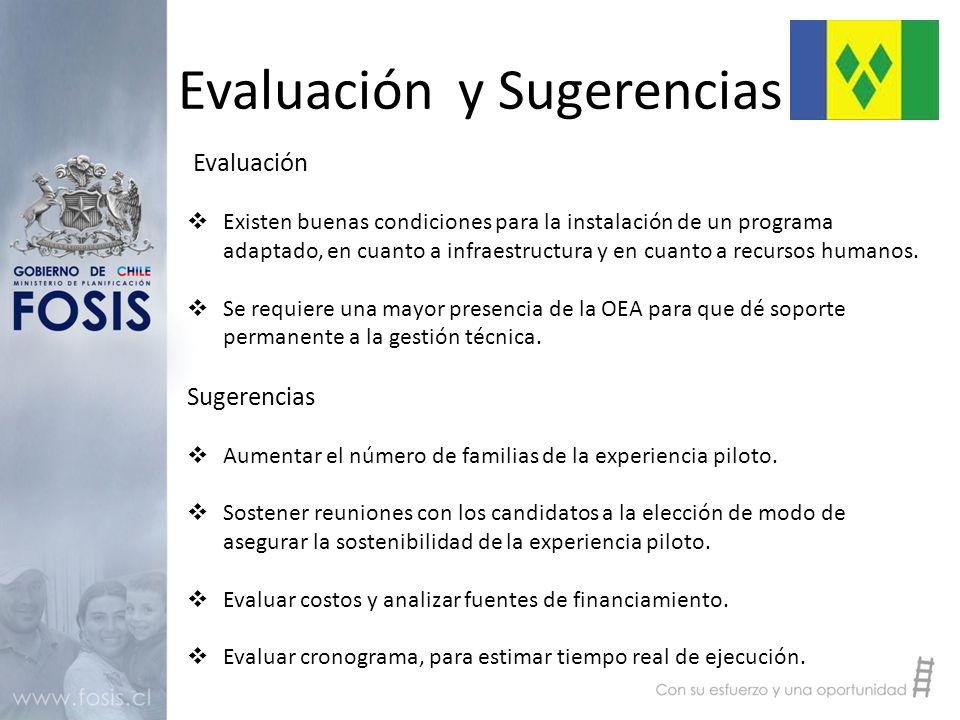 Evaluación y Sugerencias Evaluación  Existen buenas condiciones para la instalación de un programa adaptado, en cuanto a infraestructura y en cuanto a recursos humanos.