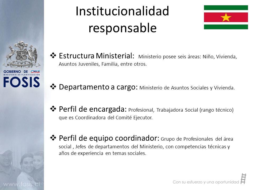 Institucionalidad responsable  Estructura Ministerial: Ministerio posee seis áreas: Niño, Vivienda, Asuntos Juveniles, Familia, entre otros.
