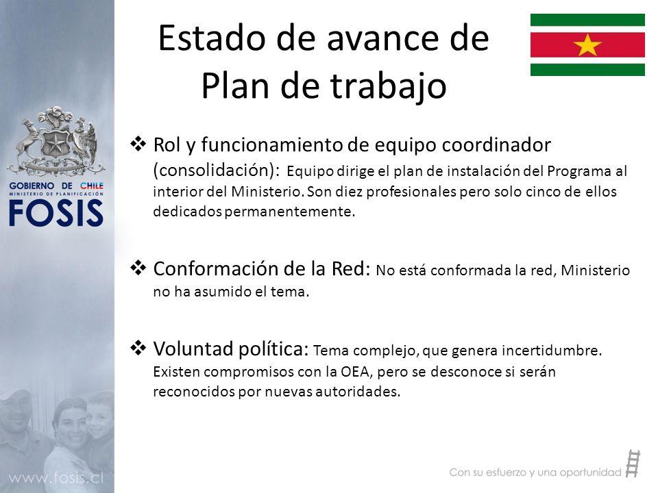 Estado de avance de Plan de trabajo  Rol y funcionamiento de equipo coordinador (consolidación): Equipo dirige el plan de instalación del Programa al interior del Ministerio.