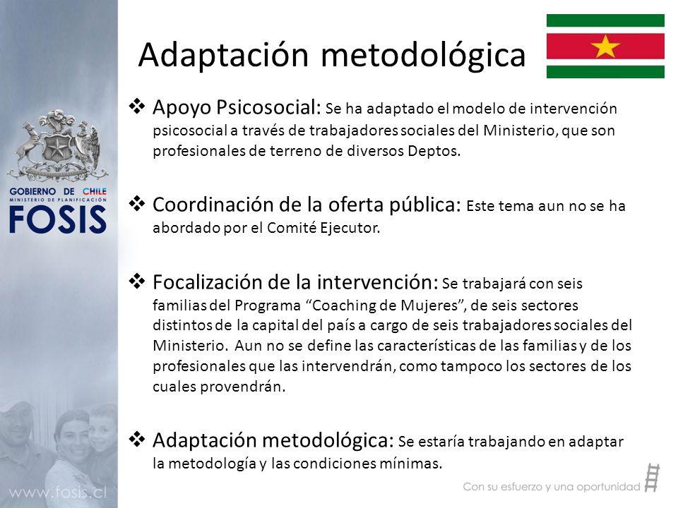 Adaptación metodológica  Apoyo Psicosocial: Se ha adaptado el modelo de intervención psicosocial a través de trabajadores sociales del Ministerio, que son profesionales de terreno de diversos Deptos.