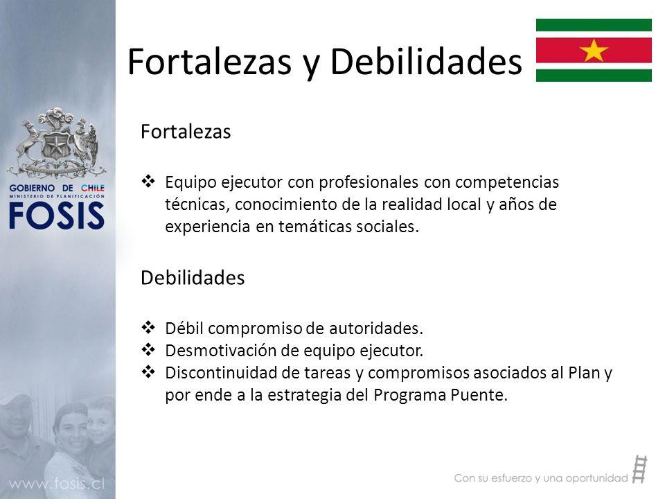Fortalezas y Debilidades Fortalezas  Equipo ejecutor con profesionales con competencias técnicas, conocimiento de la realidad local y años de experiencia en temáticas sociales.