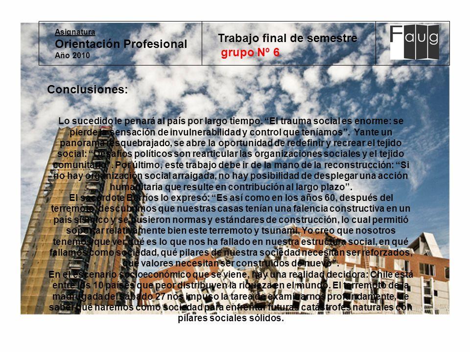 Asignatura Orientación Profesional Año 2010 Trabajo final de semestre grupo Nº 6 Conclusiones: Lo sucedido le penará al país por largo tiempo.