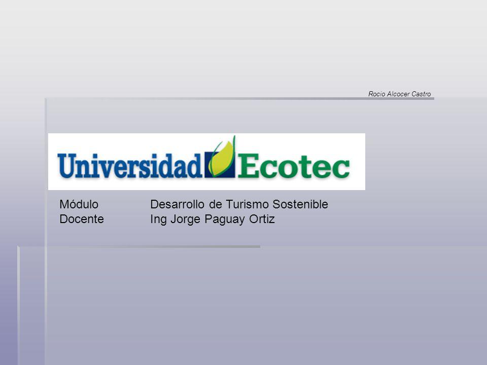 Módulo Desarrollo de Turismo Sostenible DocenteIng Jorge Paguay Ortiz Rocio Alcocer Castro