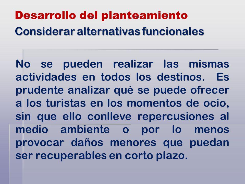Desarrollo del planteamiento No se pueden realizar las mismas actividades en todos los destinos.