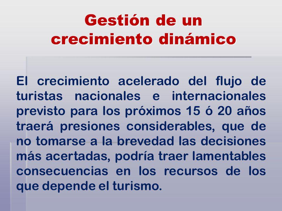 Gestión de un crecimiento dinámico El crecimiento acelerado del flujo de turistas nacionales e internacionales previsto para los próximos 15 ó 20 años traerá presiones considerables, que de no tomarse a la brevedad las decisiones más acertadas, podría traer lamentables consecuencias en los recursos de los que depende el turismo.