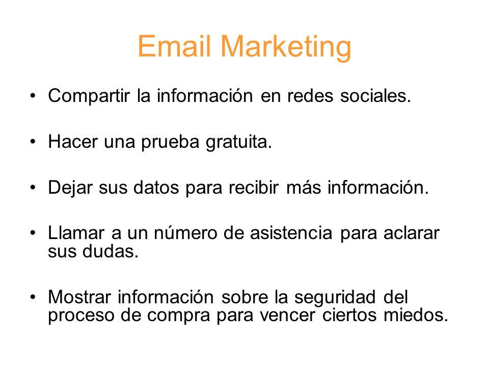 Email Marketing Compartir la información en redes sociales.