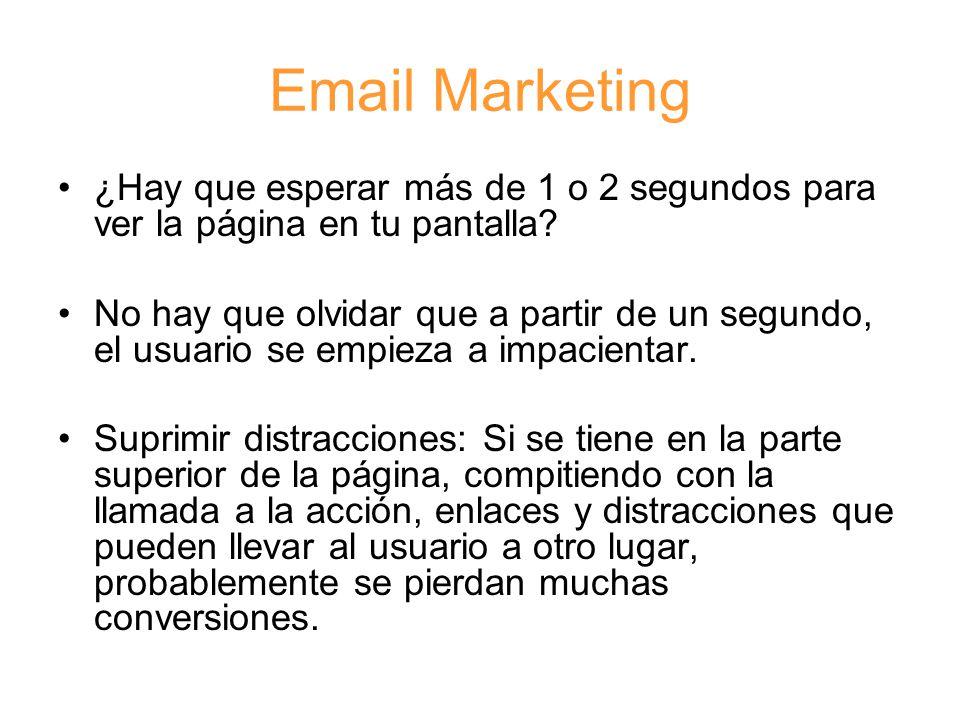 Email Marketing ¿Hay que esperar más de 1 o 2 segundos para ver la página en tu pantalla.
