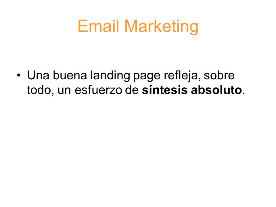 Email Marketing Una buena landing page refleja, sobre todo, un esfuerzo de síntesis absoluto.