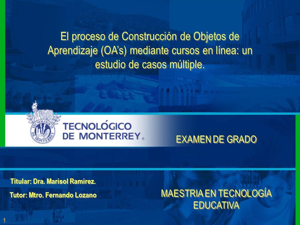 1 1 El proceso de Construcción de Objetos de Aprendizaje (OA's) mediante cursos en línea: un estudio de casos múltiple.