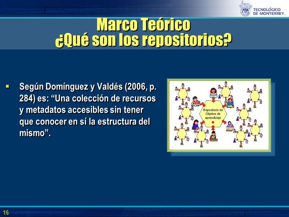 16 Marco Teórico ¿Qué son los repositorios.  Según Domínguez y Valdés (2006, p.