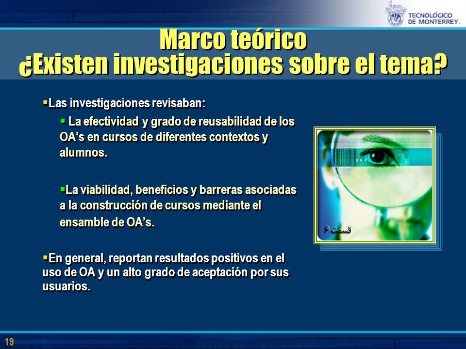 19 Marco teórico ¿Existen investigaciones sobre el tema.