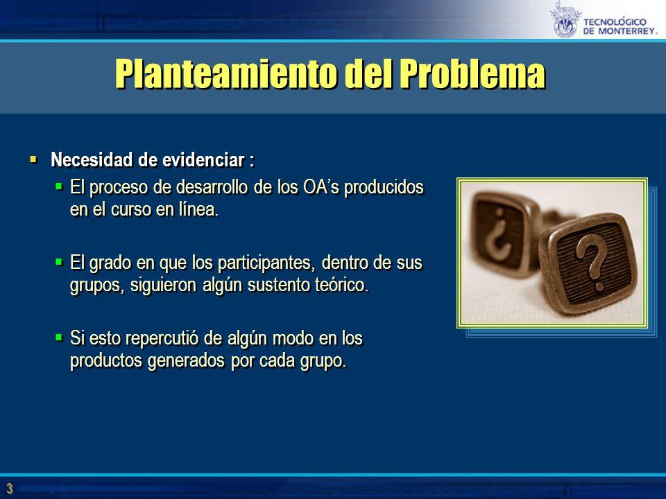 3 3 Planteamiento del Problema  Necesidad de evidenciar :  El proceso de desarrollo de los OA's producidos en el curso en línea.