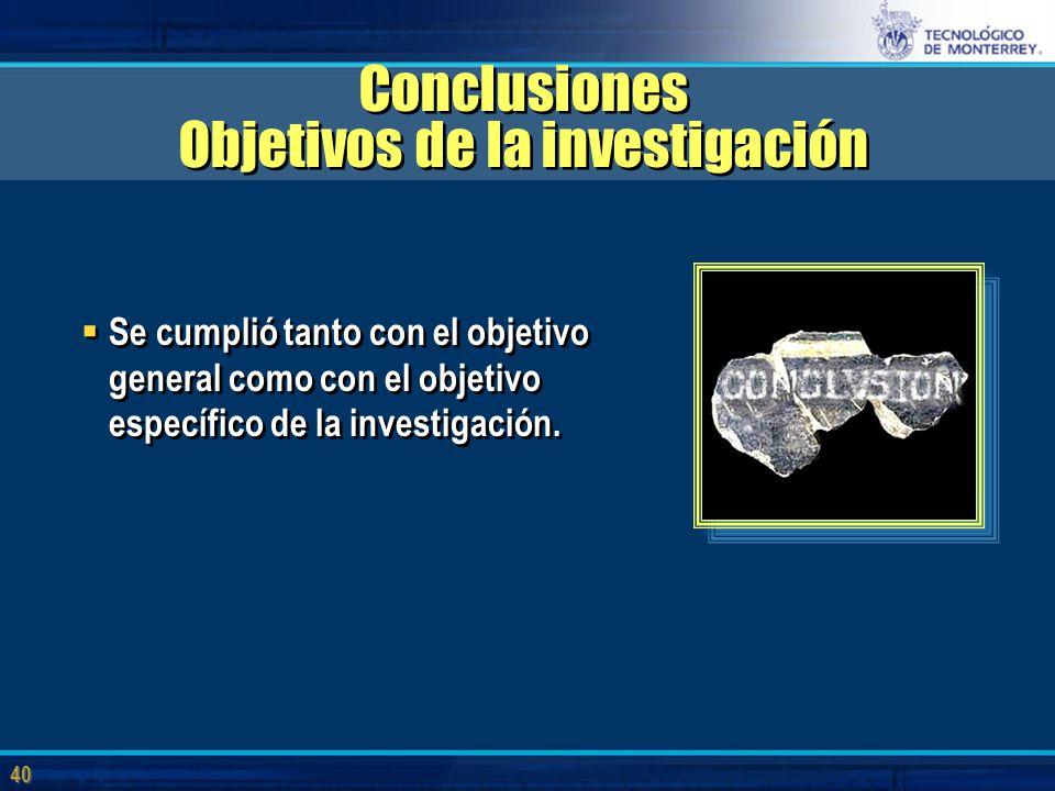 40 Conclusiones Objetivos de la investigación  Se cumplió tanto con el objetivo general como con el objetivo específico de la investigación.