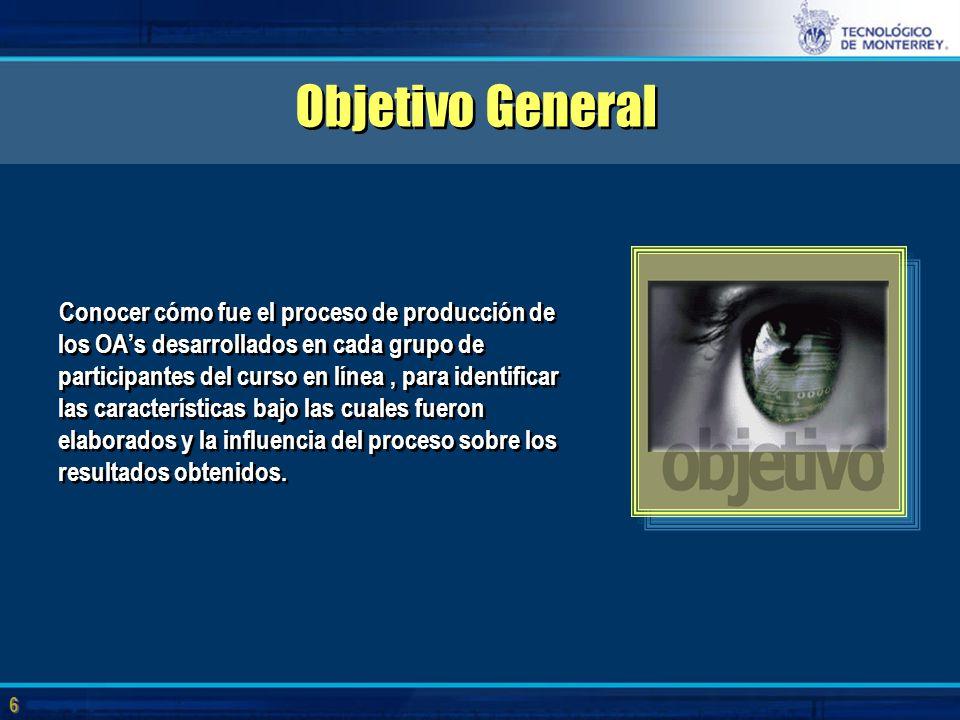 6 6 Objetivo General Conocer cómo fue el proceso de producción de los OA's desarrollados en cada grupo de participantes del curso en línea, para identificar las características bajo las cuales fueron elaborados y la influencia del proceso sobre los resultados obtenidos.