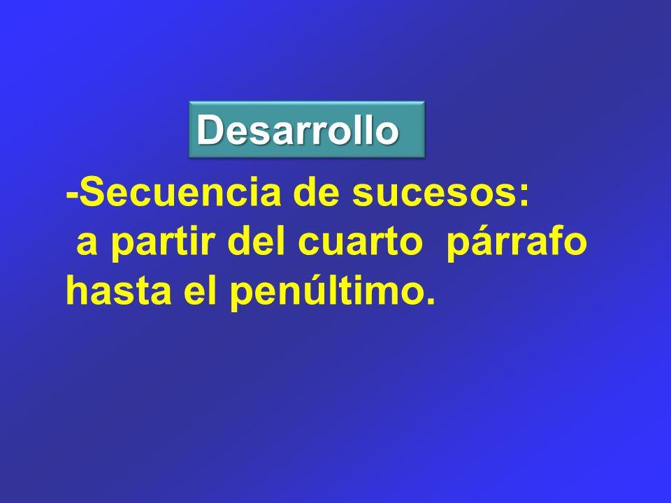 DesarrolloDesarrollo -Secuencia de sucesos: a partir del cuarto párrafo hasta el penúltimo.