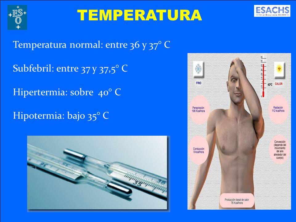 TEMPERATURA Temperatura normal: entre 36 y 37° C Subfebril: entre 37 y 37,5° C Hipertermia: sobre 40° C Hipotermia: bajo 35° C