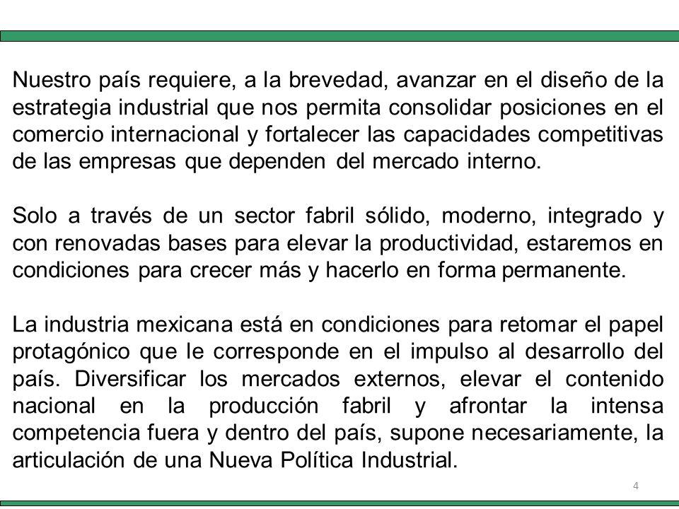 4 Nuestro país requiere, a la brevedad, avanzar en el diseño de la estrategia industrial que nos permita consolidar posiciones en el comercio internacional y fortalecer las capacidades competitivas de las empresas que dependen del mercado interno.