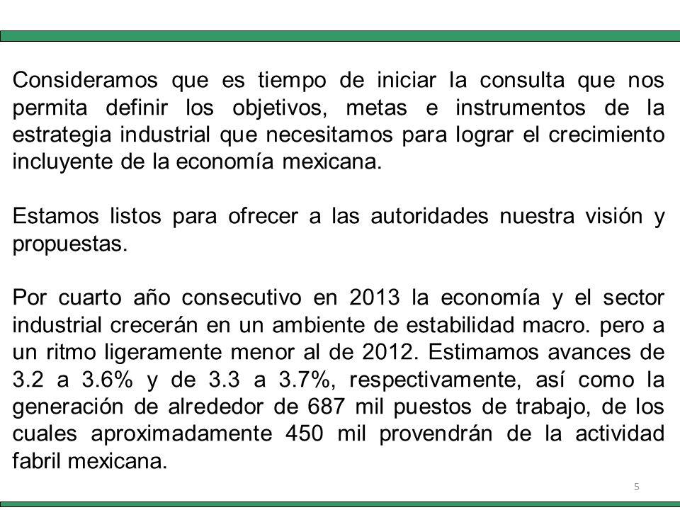 5 Consideramos que es tiempo de iniciar la consulta que nos permita definir los objetivos, metas e instrumentos de la estrategia industrial que necesitamos para lograr el crecimiento incluyente de la economía mexicana.