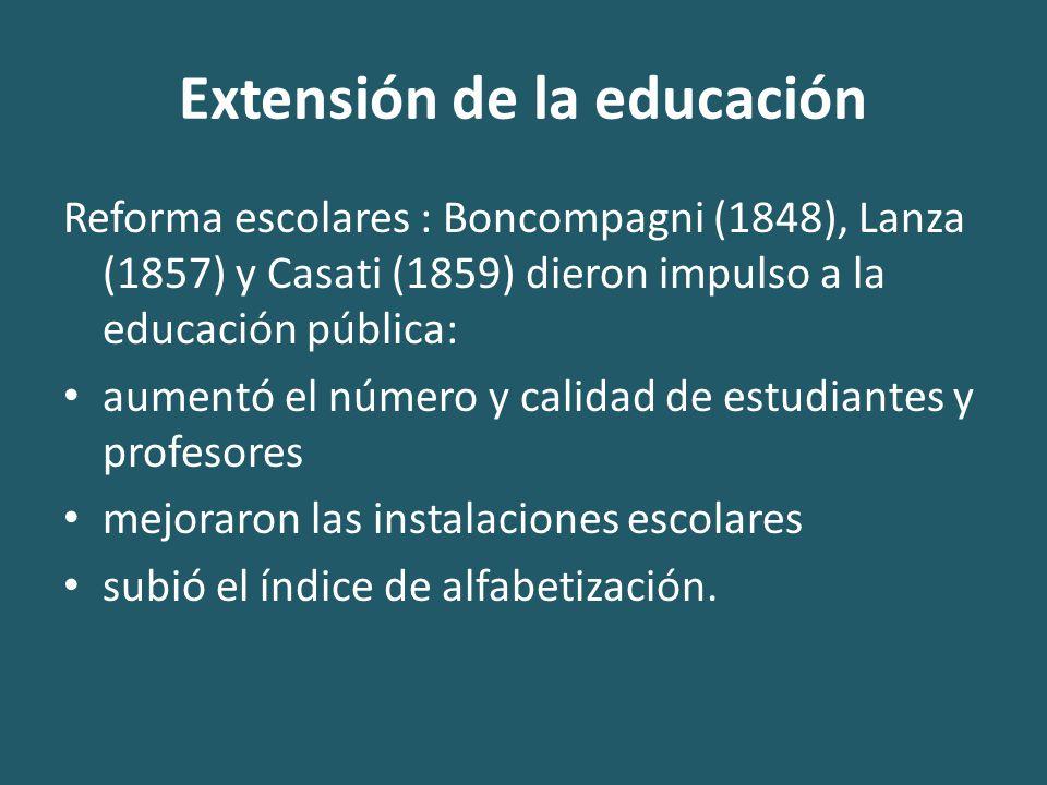 Extensión de la educación Reforma escolares : Boncompagni (1848), Lanza (1857) y Casati (1859) dieron impulso a la educación pública: aumentó el número y calidad de estudiantes y profesores mejoraron las instalaciones escolares subió el índice de alfabetización.