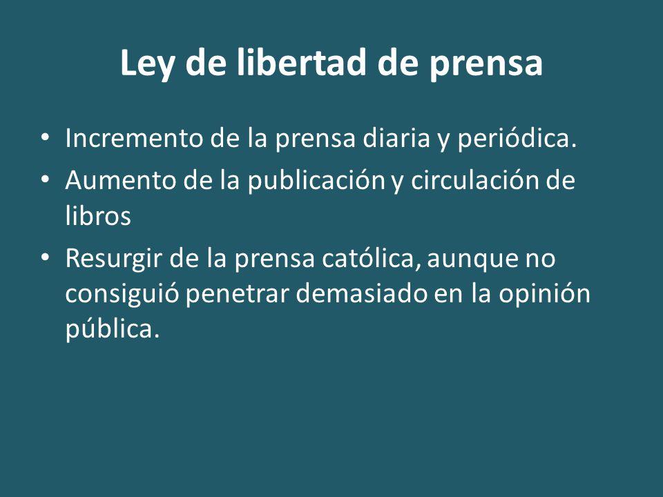 Ley de libertad de prensa Incremento de la prensa diaria y periódica.