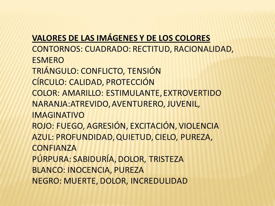 VALORES DE LAS IMÁGENES Y DE LOS COLORES CONTORNOS: CUADRADO: RECTITUD, RACIONALIDAD, ESMERO TRIÁNGULO: CONFLICTO, TENSIÓN CÍRCULO: CALIDAD, PROTECCIÓN COLOR: AMARILLO: ESTIMULANTE, EXTROVERTIDO NARANJA:ATREVIDO, AVENTURERO, JUVENIL, IMAGINATIVO ROJO: FUEGO, AGRESIÓN, EXCITACIÓN, VIOLENCIA AZUL: PROFUNDIDAD, QUIETUD, CIELO, PUREZA, CONFIANZA PÚRPURA: SABIDURÍA, DOLOR, TRISTEZA BLANCO: INOCENCIA, PUREZA NEGRO: MUERTE, DOLOR, INCREDULIDAD