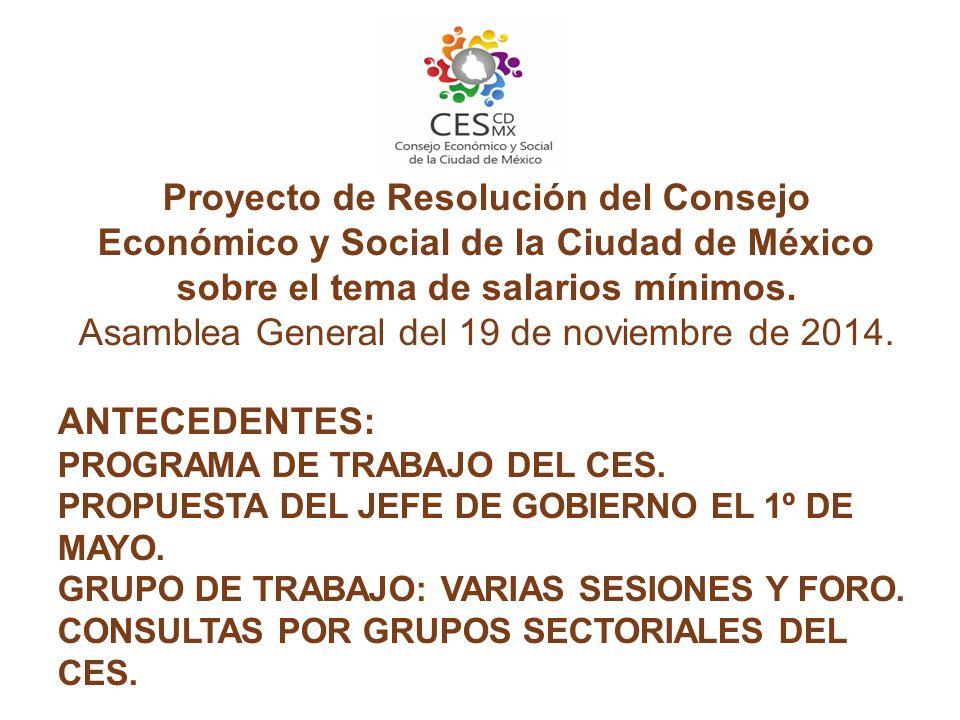 Proyecto de Resolución del Consejo Económico y Social de la Ciudad de México sobre el tema de salarios mínimos.
