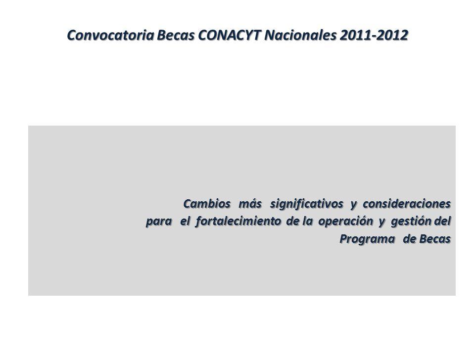 Convocatoria Becas CONACYT Nacionales 2011-2012 Cambios más significativos y consideraciones para el fortalecimiento de la operación y gestión del para el fortalecimiento de la operación y gestión del Programa de Becas Programa de Becas