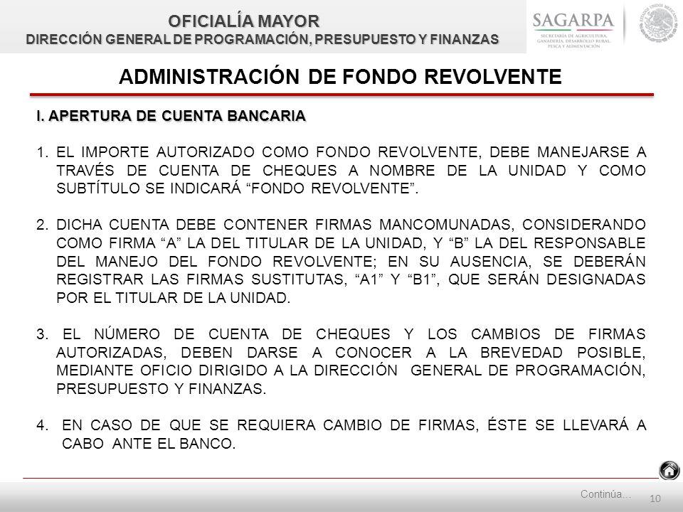 9 CREACIÓN DE FONDO REVOLVENTE SAGARPA (OFICINAS CENTRALES) II.