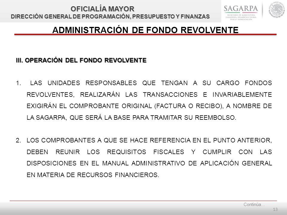 12 ADMINISTRACIÓN DE FONDO REVOLVENTE II.
