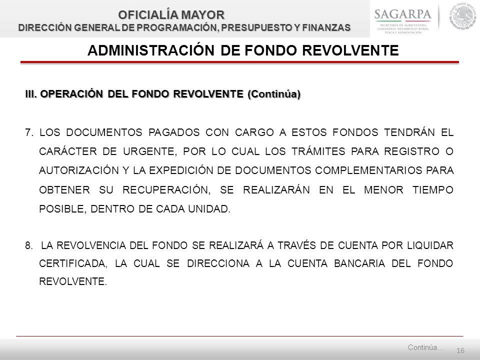 15 III. OPERACIÓN DEL FONDO REVOLVENTE (Continúa) 5.