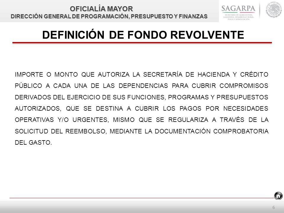 5 NORMATIVIDAD D.O.F- 15-07-2010.pdfD.O.F- 15-07-2010.pdf, ÚLTIMA REFORMA D.O.F- 15-07-2011.pdf.- ACUERDO POR EL QUE SE EXPIDE EL MANUAL ADMINISTRATIVO DE APLICACIÓN GENERAL EN MATERIA DE RECURSOS FINANCIEROS, NUMERAL 6.- FONDO ROTATORIO O REVOLVENTED.O.F- 15-07-2011.pdf LINEAMIENTOS QUINTO.pptx, DÉCIMO CUARTO.pptx Y DÉCIMO OCTAVO.pptx DE LOS LINEAMIENTOS CUTQUINTO.pptxDÉCIMO CUARTO.pptxDÉCIMO OCTAVO.pptx OFICIALÍA MAYOR DIRECCIÓN GENERAL DE PROGRAMACIÓN, PRESUPUESTO Y FINANZAS DIRECCIÓN GENERAL DE PROGRAMACIÓN, PRESUPUESTO Y FINANZAS