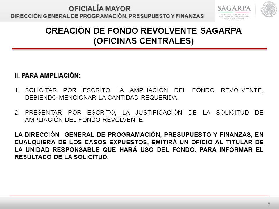 8 CREACIÓN DE FONDO REVOLVENTE SAGARPA (OFICINAS CENTRALES) SOLICITUD DE FONDO REVOLVENTE REQUISITOS MÍNIMOS QUE DEBEN CUMPLIR LAS UNIDADES AL EFECTUAR TRÁMITES SOBRE EL FONDO REVOLVENTE, ANTE LA DIRECCIÓN GENERAL DE PROGRAMACIÓN, PRESUPUESTO Y FINANZAS.