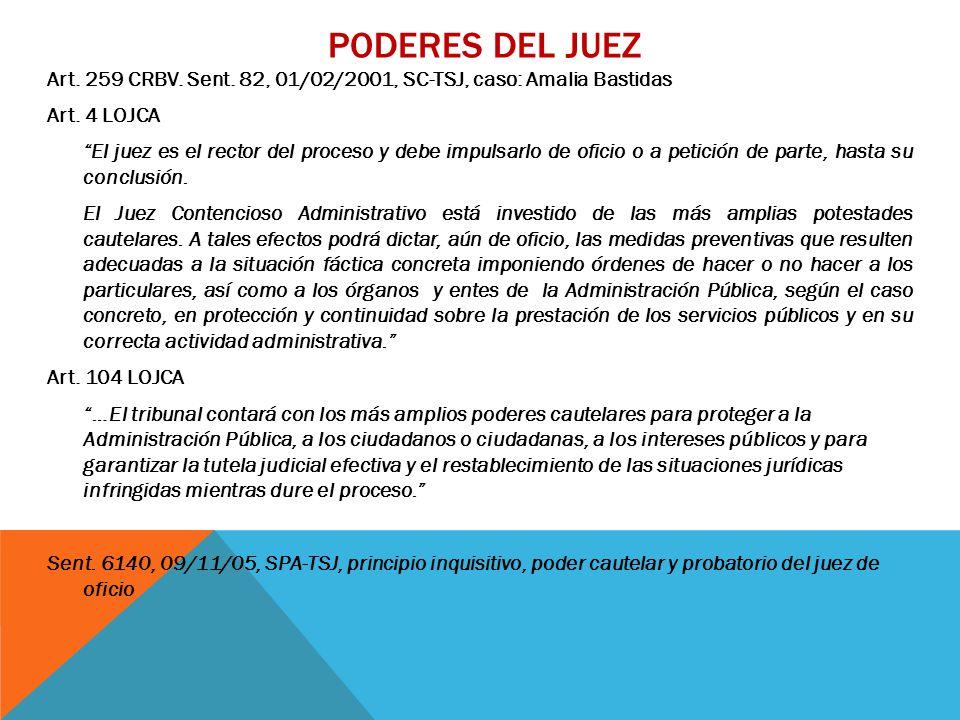 PODERES DEL JUEZ Art. 259 CRBV. Sent. 82, 01/02/2001, SC-TSJ, caso: Amalia Bastidas Art.
