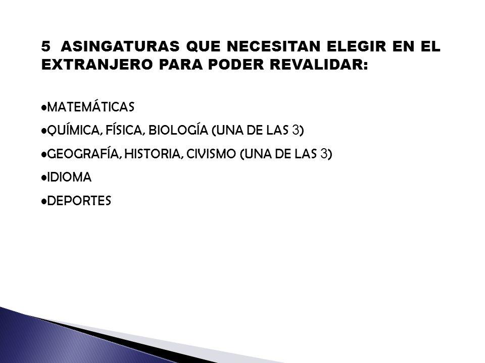 5 ASINGATURAS QUE NECESITAN ELEGIR EN EL EXTRANJERO PARA PODER REVALIDAR: MATEMÁTICAS QUÍMICA, FÍSICA, BIOLOGÍA (UNA DE LAS 3 ) GEOGRAFÍA, HISTORIA, CIVISMO (UNA DE LAS 3 ) IDIOMA DEPORTES
