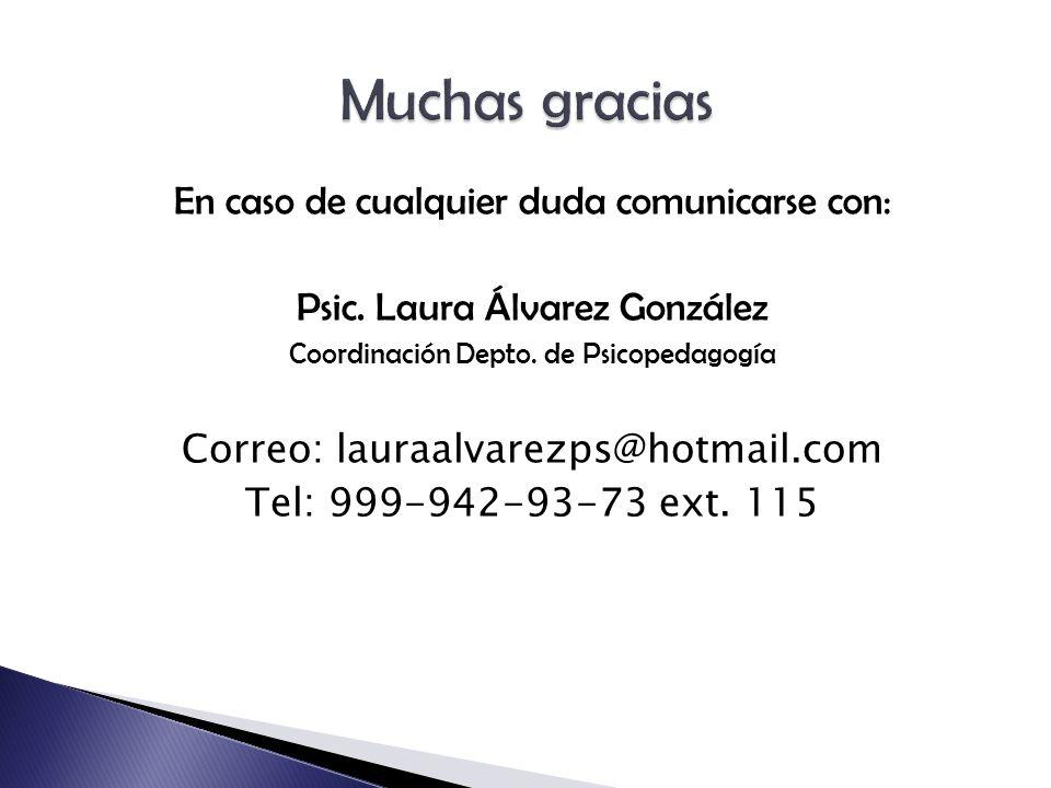 En caso de cualquier duda comunicarse con: Psic. Laura Álvarez González Coordinación Depto.