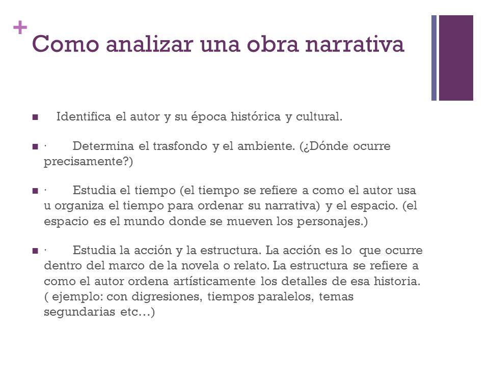 + Como analizar una obra narrativa Identifica el autor y su época histórica y cultural.