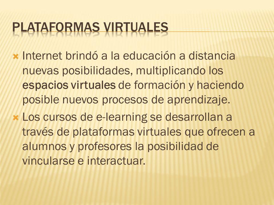  Internet brindó a la educación a distancia nuevas posibilidades, multiplicando los espacios virtuales de formación y haciendo posible nuevos procesos de aprendizaje.