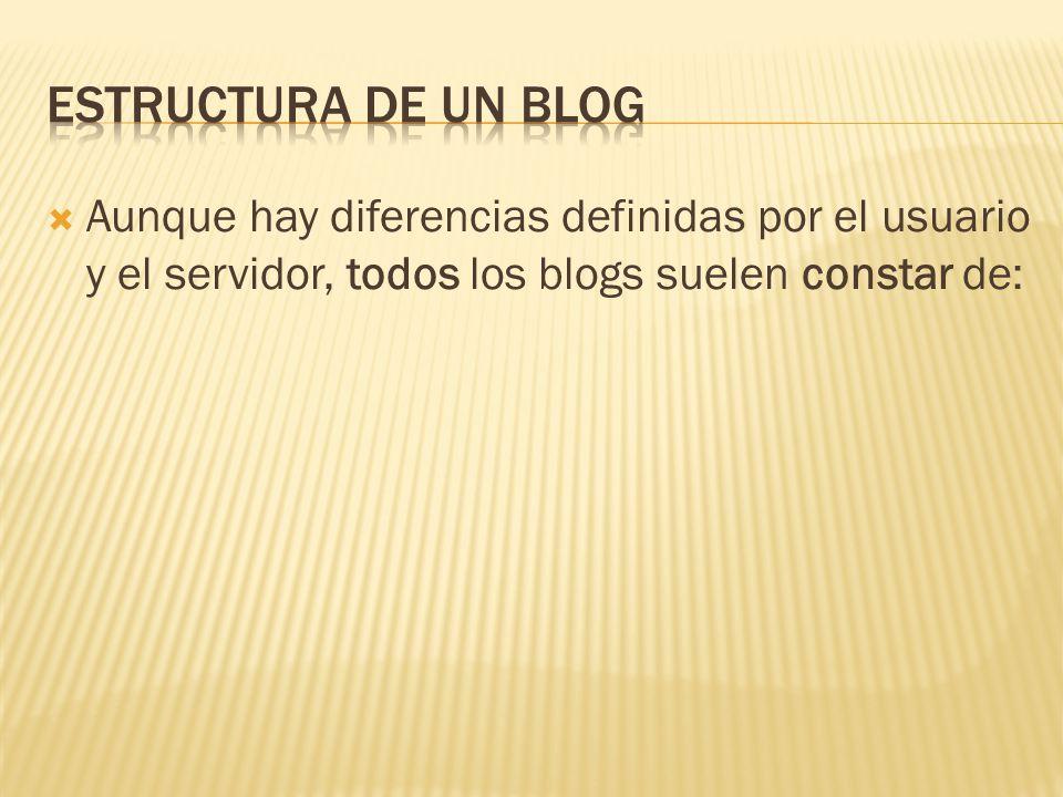 Aunque hay diferencias definidas por el usuario y el servidor, todos los blogs suelen constar de: