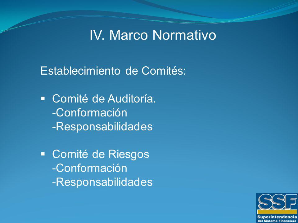 IV. Marco Normativo Establecimiento de Comités:  Comité de Auditoría.