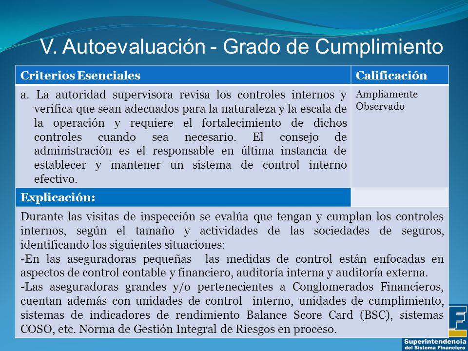 V. Autoevaluación - Grado de Cumplimiento Criterios EsencialesCalificación a.
