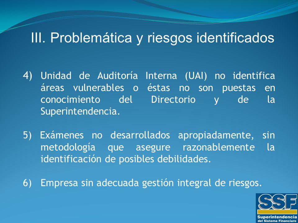 4) Unidad de Auditoría Interna (UAI) no identifica áreas vulnerables o éstas no son puestas en conocimiento del Directorio y de la Superintendencia.