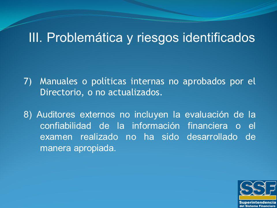 7)Manuales o políticas internas no aprobados por el Directorio, o no actualizados.