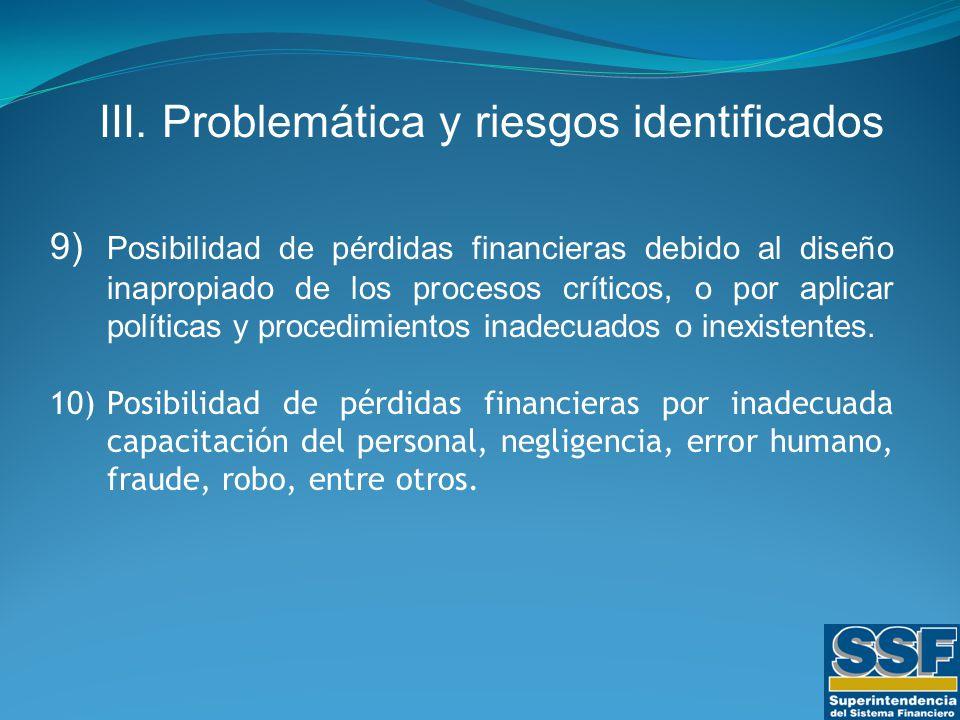 9) Posibilidad de pérdidas financieras debido al diseño inapropiado de los procesos críticos, o por aplicar políticas y procedimientos inadecuados o inexistentes.