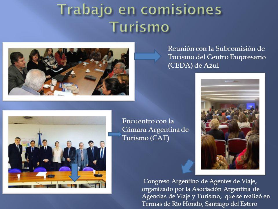 Reunión con la Subcomisión de Turismo del Centro Empresario (CEDA) de Azul Encuentro con la Cámara Argentina de Turismo (CAT) Congreso Argentino de Agentes de Viaje, organizado por la Asociación Argentina de Agencias de Viaje y Turismo, que se realizó en Termas de Río Hondo, Santiago del Estero