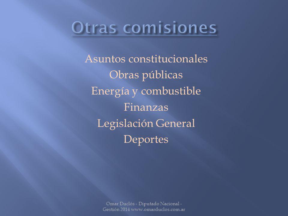 Asuntos constitucionales Obras públicas Energía y combustible Finanzas Legislación General Deportes Omar Duclós - Diputado Nacional - Gestión 2014 www.omarduclos.com.ar