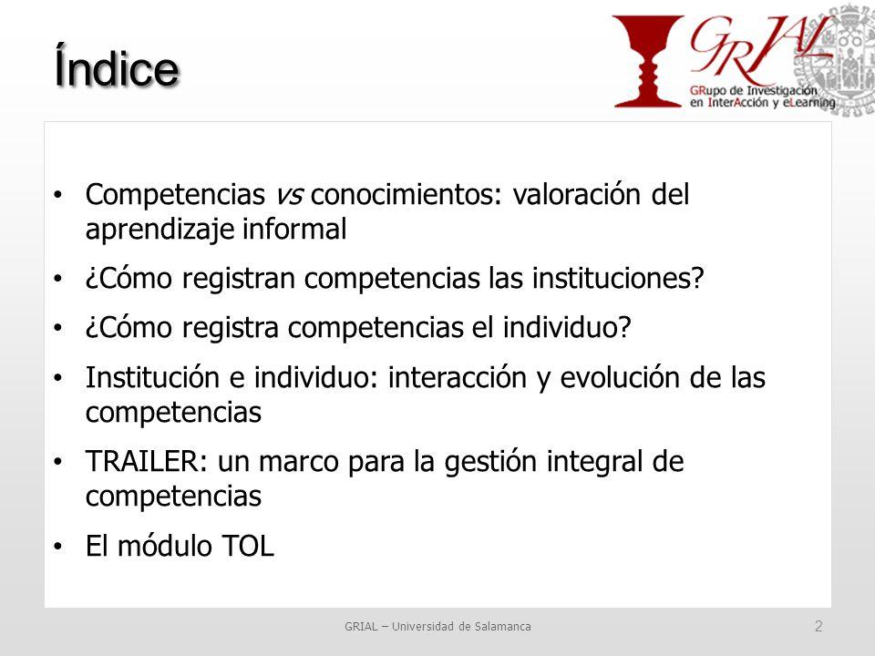 Índice GRIAL – Universidad de Salamanca 2 Competencias vs conocimientos: valoración del aprendizaje informal ¿Cómo registran competencias las instituciones.