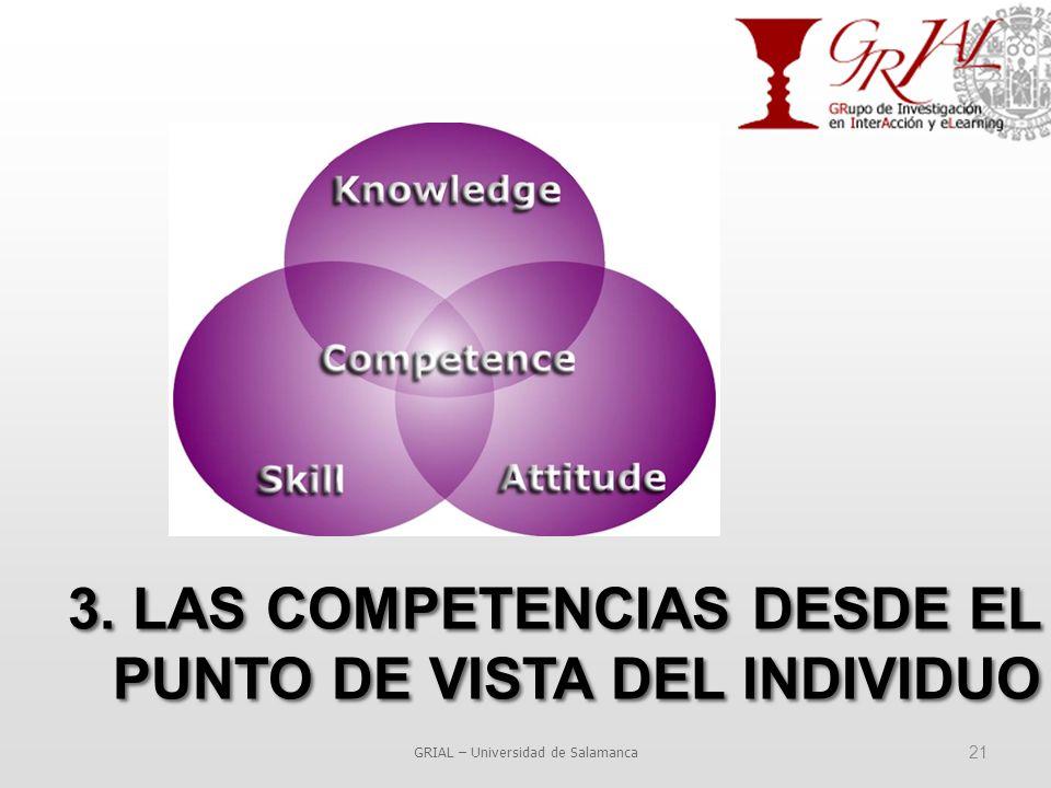 GRIAL – Universidad de Salamanca 21 3. LAS COMPETENCIAS DESDE EL PUNTO DE VISTA DEL INDIVIDUO
